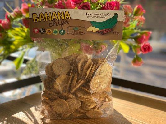 Banana Chips Doce c/Canela 100g Frutto Della Terra