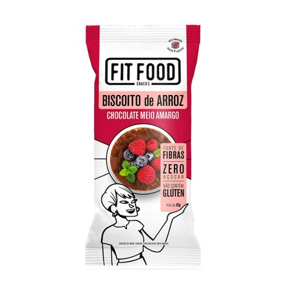 Biscoito de Arroz Com Chocolate Amargo Fit Food