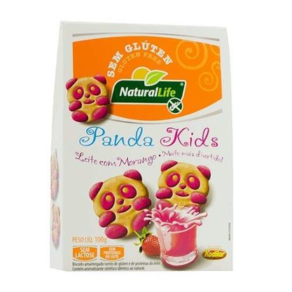 Biscoito panda kids s/glut s/lact sabor leite com morango 100g