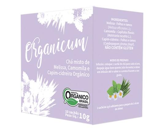 Chá Misto Melissa, Camomila e Capim Cidreira 10 sachês Organicum