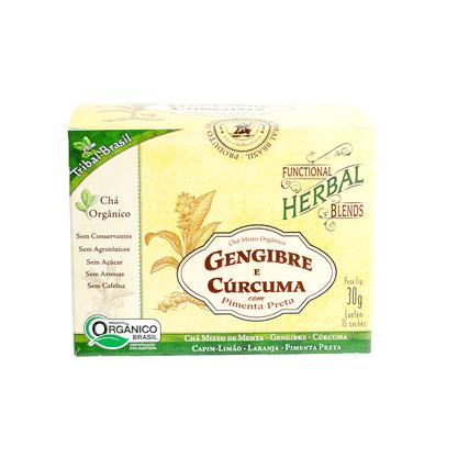 Chá Misto Orgânico Gengibre e Cúrcuma com Pimenta Preta 15 Sachês Tribal