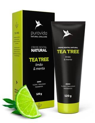 Creme Dental Tea Tree Limão e Menta PuraVida 120g