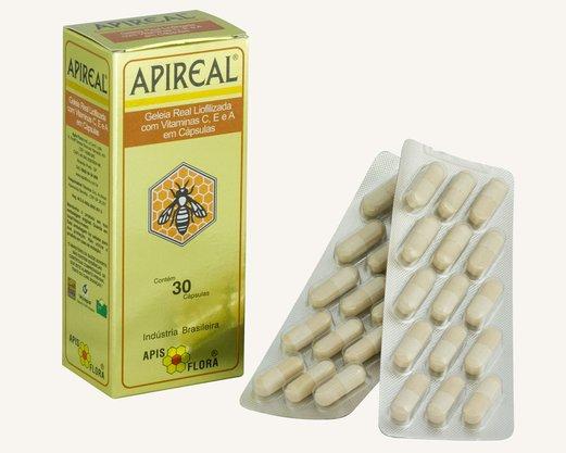 Apireal Geleia Real Natural Liofilizada 30 caps Apis Flora