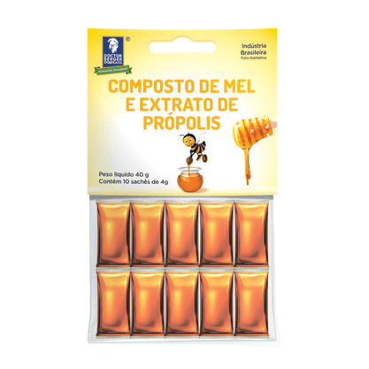 Mel e extrato de propolis 40gr 10 saches de 4g doctor berger