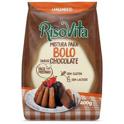Mistura para bolo sabor chocolate Risovita 400g s/ glúten e s/ lactose