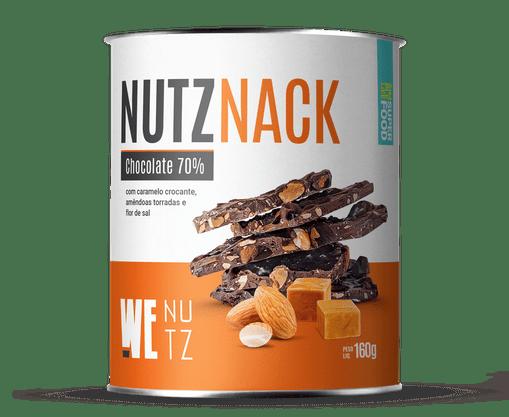 Nutznack - Chocolate 70% com Caramelo Crocante e Amêndoas Torradas - We Nutz