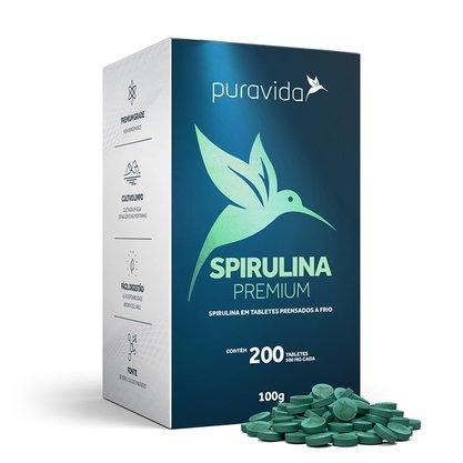 Spirulina Premium 100g 200 Tabletes Puravida