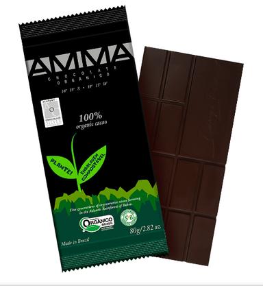 Chocolate Orgânico 100% Cacau 80g Amma