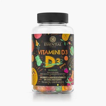 Vitamini D Gummy contém 60 gomas de 3g Essential